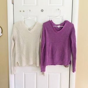 ✨2 FOR 20 Purple & White V Neck Sweaters✨